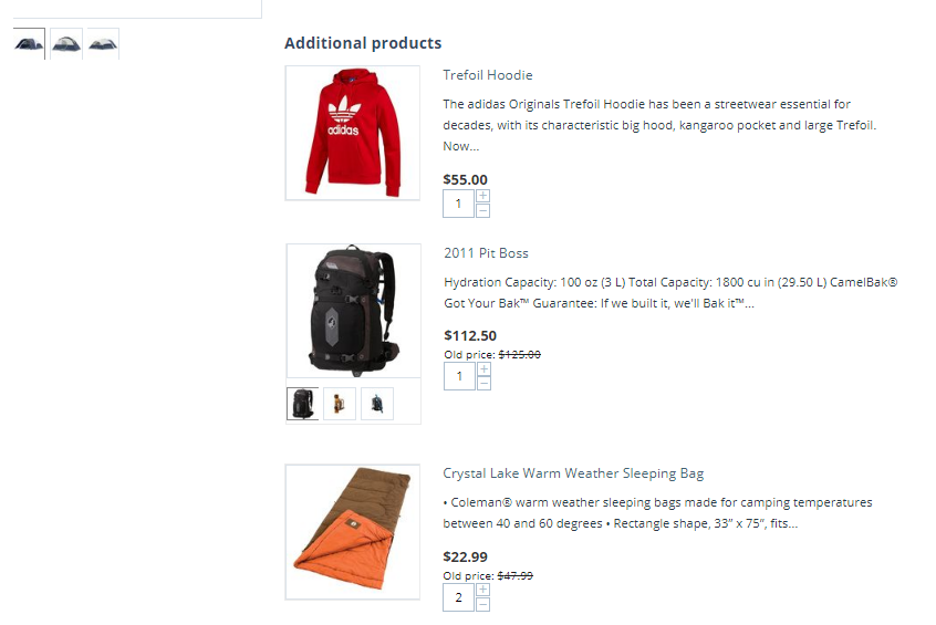 Шаблон список для дополнительных товаров